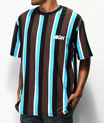High Company Kidz Brown & Blue Vertical Stripe T-Shirt