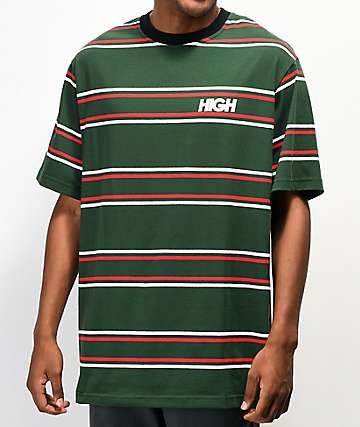 High Company Kidz Green & Red Horizontal Stripe T-Shirt