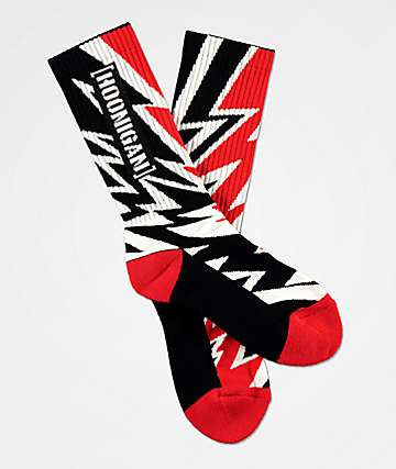 Hoonigan Climbkhana Red Bolt, White & Black Crew Socks