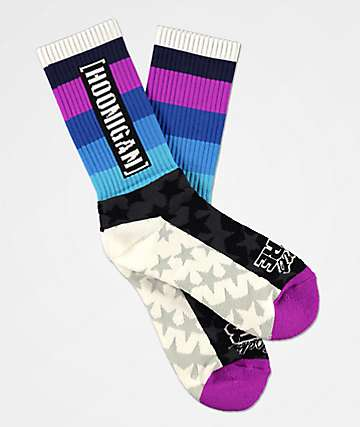 Hoonigan HRD Black, White & Purple Crew Socks