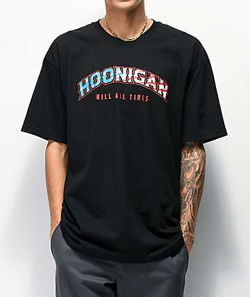 Hoonigan Rocker Flag Black T-Shirt