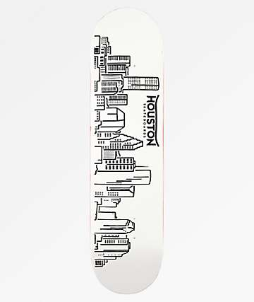 "Houston Skyline 8.0"" White Skateboard Deck"