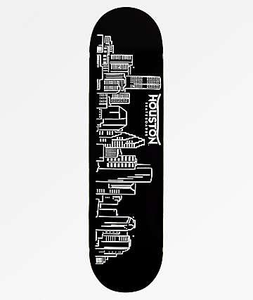 "Houston Skyline 8.25"" Black Skateboard Deck"