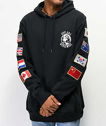 Hypland Worldwide Flag Black Hoodie