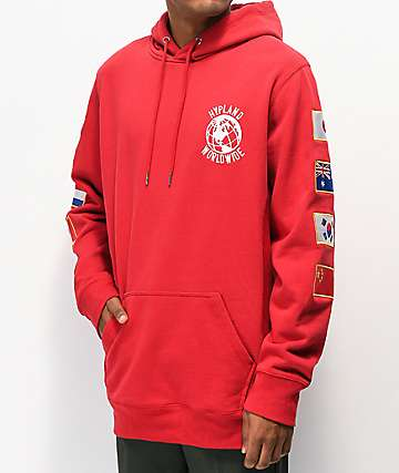 Hypland Worldwide Flag Red Hoodie