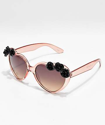 Icon Eyewear Black Flowers Blush Heart Sunglasses