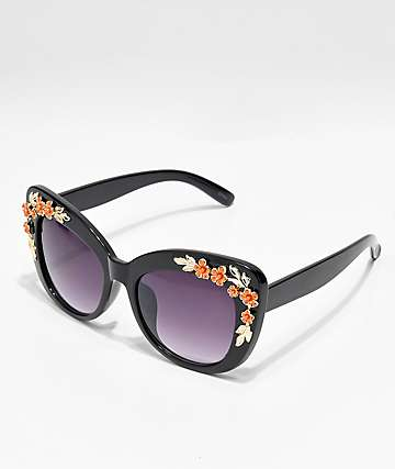 Icon Eyewear Flower Black Cat Eye Sunglasses