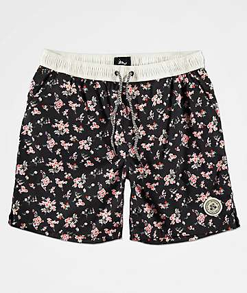 Imperial Motion Tub Seeker Volley Navy Floral Elastic Waist Shorts