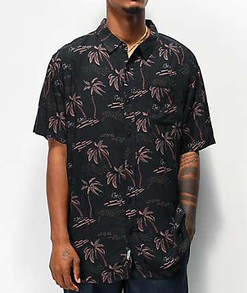 Imperial Motion Vacay Black Woven Short Sleeve Button Up Shirt