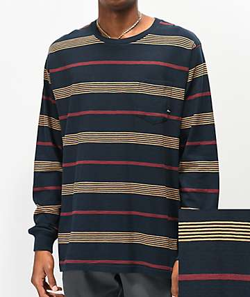 Imperial Motion Vintage Slub Navy Striped Knit Long Sleeve T-Shirt