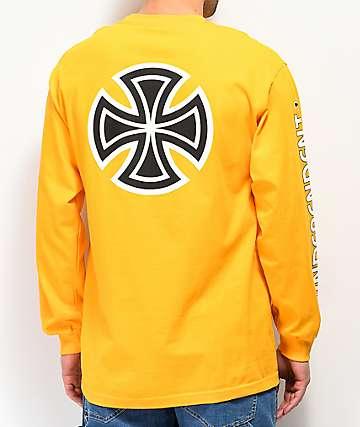 Independent Bar Cross camiseta dorada de manga larga