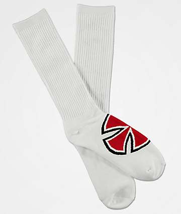 Independent Bold Cross White Crew Socks