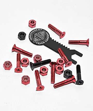 """Independent Crossbolts Red & Black 1"""" Skateboard Hardware"""