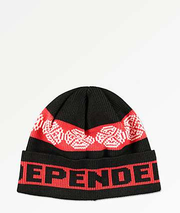 Independent Woven Crosses Black & Red Beanie