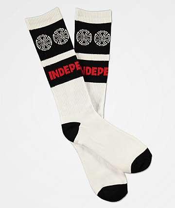 Independent Woven Crosses White & Black Crew Socks