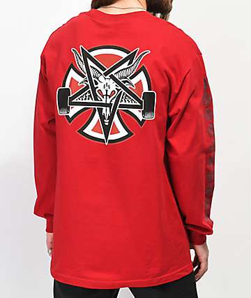 Independent x Thrasher Pentagram Red Long Sleeve T-Shirt
