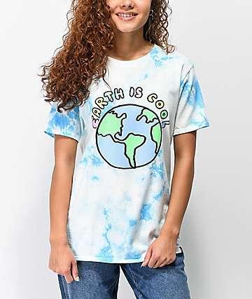 JV by Jac Vanek Earth Is Cool Blue & White Tie Dye T-Shirt