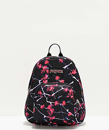 JanSport Half Pint Sakura Delight Black & Pink Mini Backpack