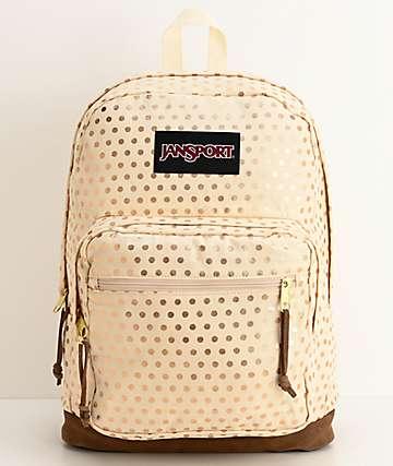 JanSport Right Pack Expressions Gold Polka Dot Backpack