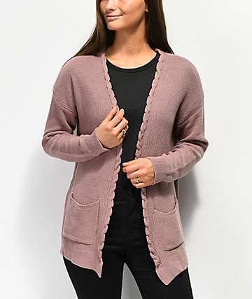 Jolt Carli Lace Detail Purple Cardigan