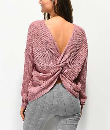 Jolt Knot Back Mauve Sweater