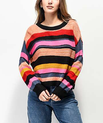 Jolt Multicolor Wide Stripe Crop Sweater