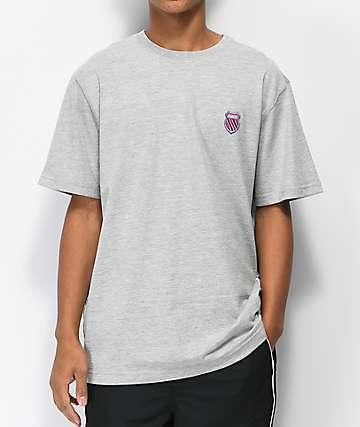 K-Swiss Badged Heather Grey T-Shirt