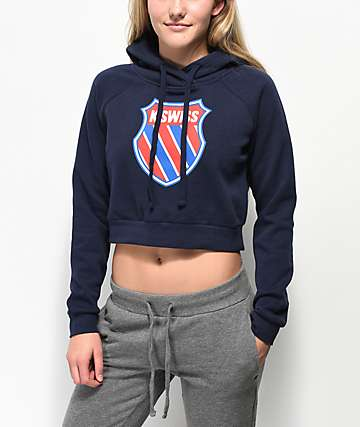 K-Swiss Grind Red, White & Blue Crop Hoodie