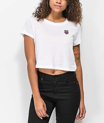 K-Swiss Tiebreaker White Crop T-Shirt