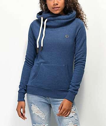 Kazane Britta sudadera con capucha azul marino