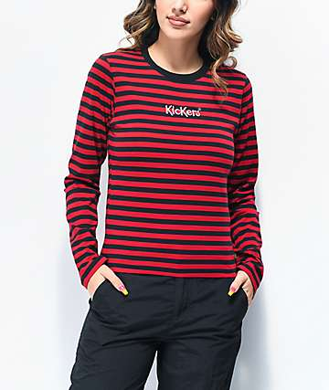 Kickers Burgundy & Black Striped Long Sleeve T-Shirt