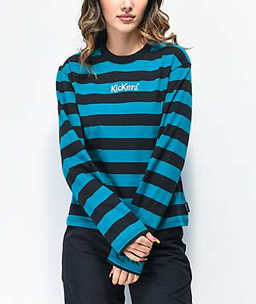 Kickers Rugby Teal & Black Striped Long Sleeve T-Shirt
