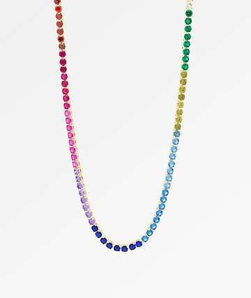 "King Ice 5mm Single Row Spectrum 22"" Necklace"