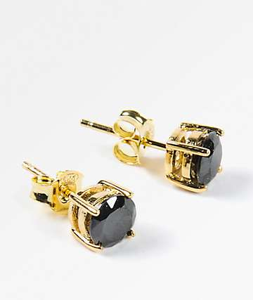 King Ice 6mm Gold & Black Round Cut Earrings