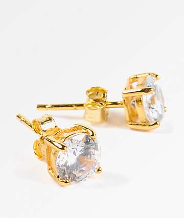 King Ice 6mm Gold & Clear Round Cut Earrings