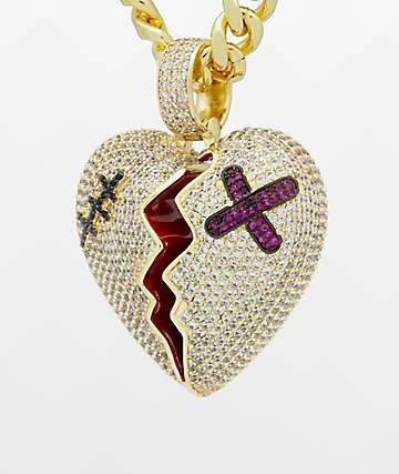 King Ice Broken Heart Gold Necklace
