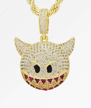 King Ice Devil Emoji Gold Necklace