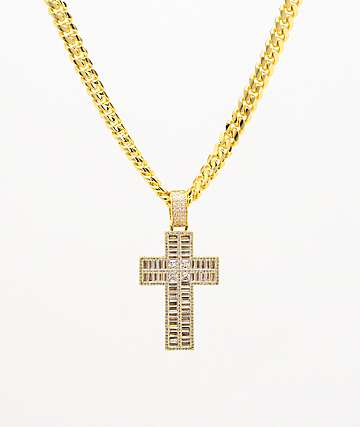 King Ice Flooded Gold Cross Necklace