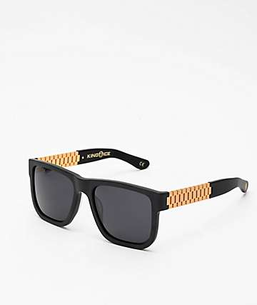 King Ice Gold Link Matte Black Polarized Sunglasses