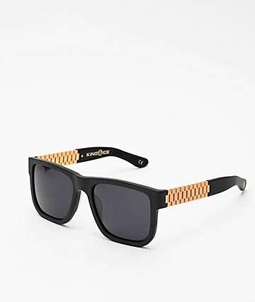 King Ice Gold Link Matte Black Polarized Sunglasses