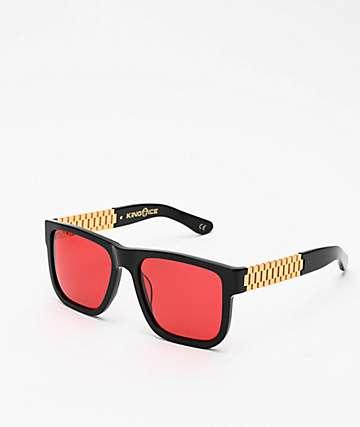 King Ice Gold Link gafas de sol polarizadas en negro brillante y rojo