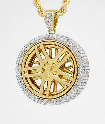 King Ice Spinning Rims Gold Necklace