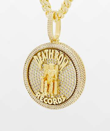 King Ice x Death Row Medallion Spinner Gold Necklace