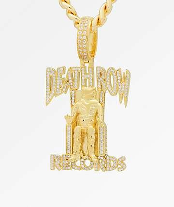 King Ice x Deathrow Records collar con colgante de gemas