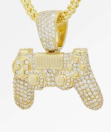 King Ice x PlayStation Iced Out Classic PlayStation Controller collar de cadena de oro