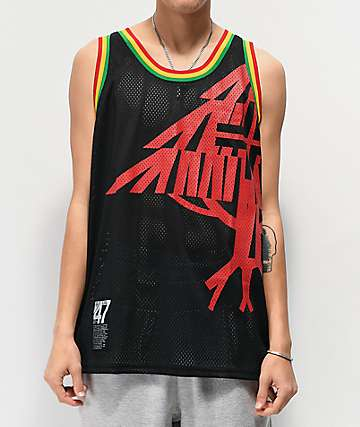LRG Roots Black & Rasta Mesh Tank Top