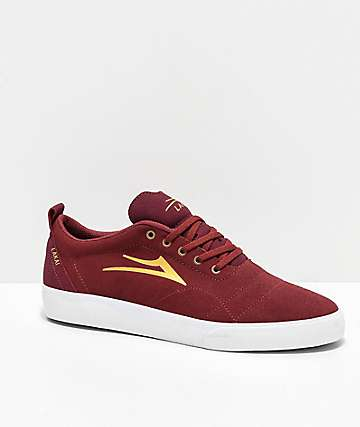 Lakai Bristol Burgundy & Gold Suede Skate Shoes
