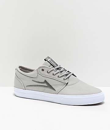 Lakai Griffin Silver & White Textile Skate Shoes