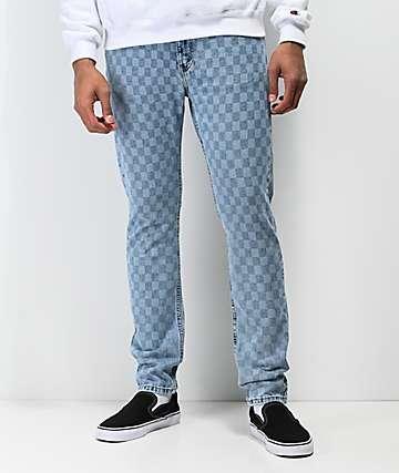 Levi's 512 jeans delgados en azul claro de cuadros