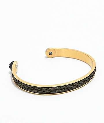 Lokai Gold Olive Braided Cuff Bracelet